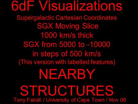 6dF Visualizations Supergalactic Cartesian Coordinates SGX Moving Slice 1000 km/s thick SGX from 5000 to -10000 in steps of 500 km/s (This version with.