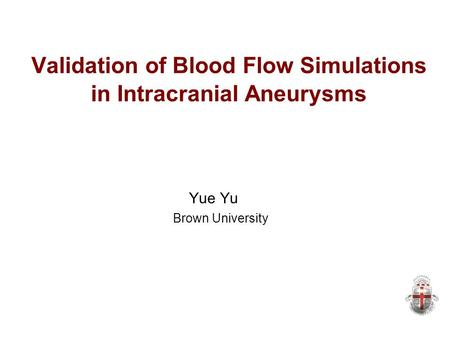 Validation of Blood Flow Simulations in Intracranial Aneurysms Yue Yu Brown University.