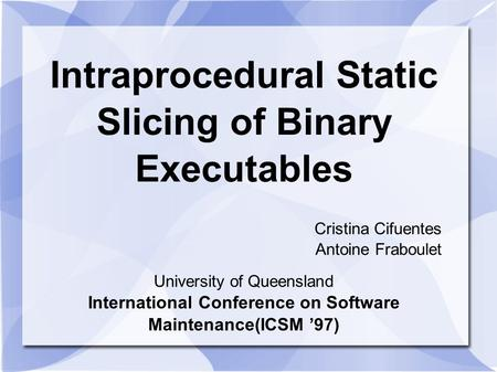 Intraprocedural Static Slicing of Binary Executables