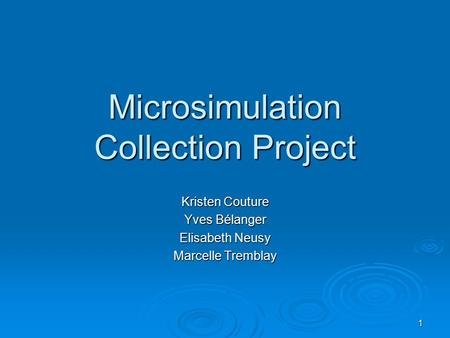 1 Microsimulation Collection Project Kristen Couture Yves Bélanger Elisabeth Neusy Marcelle Tremblay.