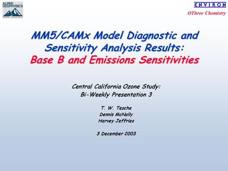 OThree Chemistry MM5/CAMx Model Diagnostic and Sensitivity Analysis Results: Base B and Emissions Sensitivities Central California Ozone Study: Bi-Weekly.
