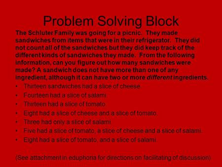 Problem Solving Block The Schluter Family was going for a picnic. They made sandwiches from items that were in their refrigerator. They did not count.