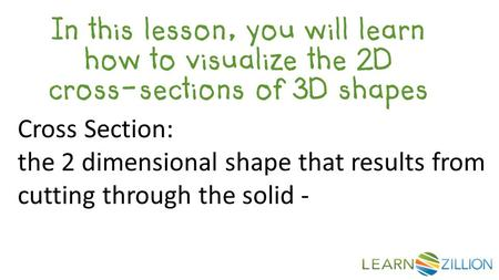 In this lesson, you will learn how to visualize the 2D cross-sections of 3D shapes Cross Section: the 2 dimensional shape that results from cutting through.