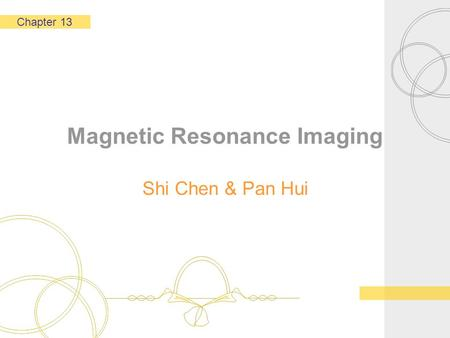 Magnetic Resonance Imaging Shi Chen & Pan Hui Chapter 13.