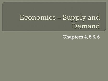 Economics – Supply and Demand
