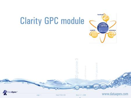Page: Clarity GPC module Date: 3.11.2009Code: P002/28A1.