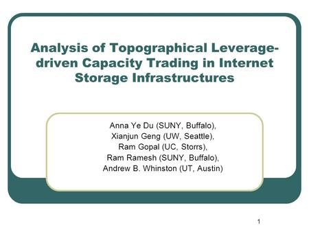 1 Analysis of Topographical Leverage- driven Capacity Trading in Internet Storage Infrastructures Anna Ye Du (SUNY, Buffalo), Xianjun Geng (UW, Seattle),