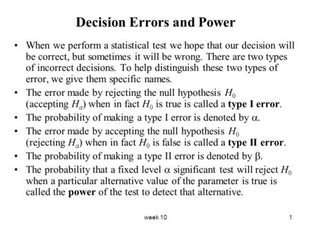 Decision Errors and Power