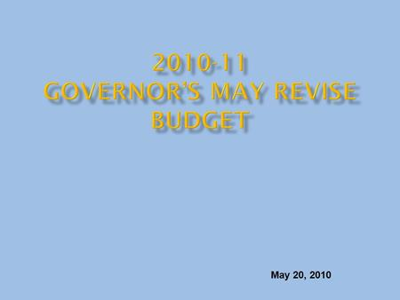 May 20, 2010. Budget Shortfall Projected in January Budget $(19.9) Special Session Solutions 1.4 Achieved Federal Funding 0.7 Revenue Decline (0.6) Cost.