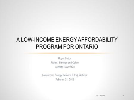 a Low-Income Energy Affordability Program for Ontario