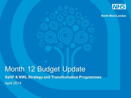 North West London Month 12 Budget Update SaHF & NWL Strategy and Transformation Programmes April 2014.