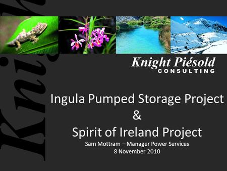 Ingula Pumped Storage Project & Spirit of Ireland Project Sam Mottram – Manager Power Services 8 November 2010.