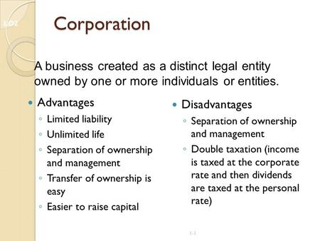 1-1 Corporation Advantages ◦ Limited liability ◦ Unlimited life ◦ Separation of ownership and management ◦ Transfer of ownership is easy ◦ Easier to raise.