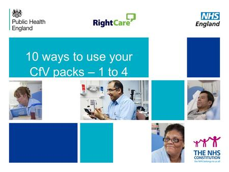 10 ways to use your CfV packs – 1 to 4. ‹#› 1. Use CfV packs to prioritise improvement programmes – Where to Look.