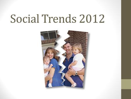 Social Trends 2012. Topics Expansion in early years education Ageing population and home carer abuse Divorce rate increase Unemployment and benefits High.