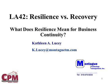 1 LA42: Resilience vs. Recovery What Does Resilience Mean for Business Continuity? Kathleen A. Lucey  Tel: 516-676-9234.