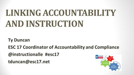 LINKING ACCOUNTABILITY AND INSTRUCTION Ty Duncan ESC 17 Coordinator of Accountability and #esc17