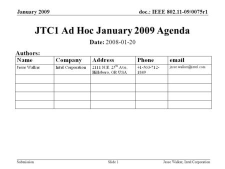 Doc.: IEEE 802.11-09/0075r1 Submission January 2009 Jesse Walker, Intel CorporationSlide 1 JTC1 Ad Hoc January 2009 Agenda Date: 2008-01-20 Authors: