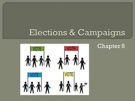Chapter 8. A) Introduction 1. Getting nominated & getting elected a. Get name on ballot b. Individual effort c. Role of parties.