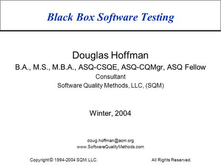 Black Box <strong>Software</strong> Testing