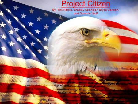 Project Citizen By: Tim Hanks, Bradley Spangler, Bryce Carlson, and Dominic Wolf.
