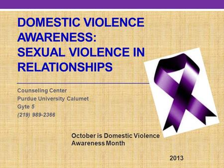 Domestic Violence Awareness: Sexual Violence in relationships
