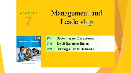 SLIDE 1 7-1 7-1Becoming an Entrepreneur 7-2 7-2Small Business Basics 7-3 7-3Starting a Small Business 7 C H A P T E R Management and Leadership.