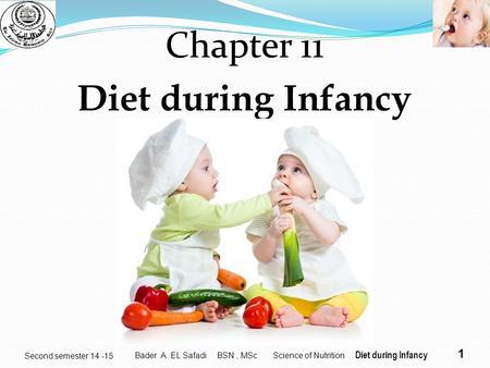 1 Second semester 14 -15 Chapter 11 Diet during Infancy Bader A. EL Safadi BSN, MSc Science of Nutrition Diet during Infancy.