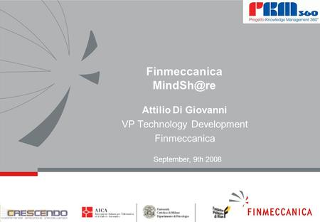 Finmeccanica Attilio Di Giovanni VP Technology Development Finmeccanica September, 9th 2008.
