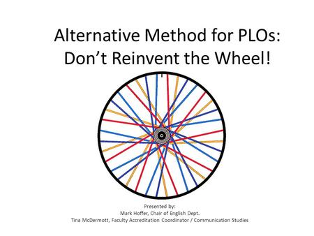 Alternative Method for PLOs: Don't Reinvent the Wheel! Presented by: Mark Hoffer, Chair of English Dept. Tina McDermott, Faculty Accreditation Coordinator.