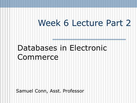 Week 6 Lecture Part 2 Databases in Electronic Commerce Samuel Conn, Asst. Professor.