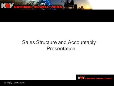 One company … unlimited solutions Sales Sturture and Accoutablitiy Pre Sales Structure and Accountably Presentation.