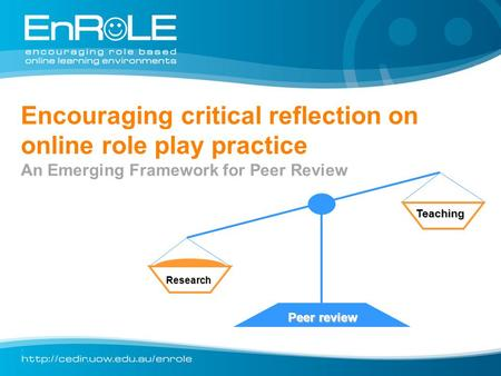 Encouraging critical reflection on online role play practice An Emerging Framework for Peer Review Research Teaching Peer review.
