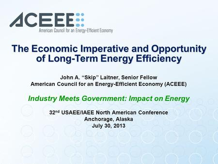 "John A. ""Skip"" Laitner, Senior Fellow American Council for an Energy-Efficient Economy (ACEEE) Industry Meets Government: Impact on Energy 32 nd USAEE/IAEE."