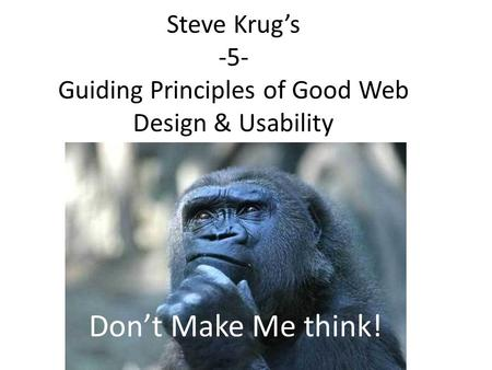 Steve Krug's -5- Guiding Principles of Good Web Design & Usability