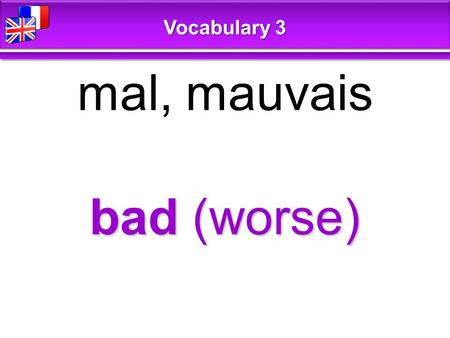 Bad (worse) mal, mauvais Vocabulary 3. cheap économique, bon marché Vocabulary 3.
