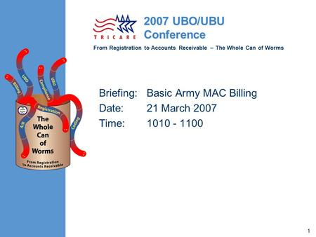 From Registration to Accounts Receivable – The Whole Can of Worms 2007 UBO/UBU Conference 1 Briefing:Basic Army MAC Billing Date:21 March 2007 Time:1010.