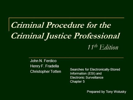 Criminal Procedure for the Criminal Justice Professional 11 th Edition John N. Ferdico Henry F. Fradella Christopher Totten Prepared by Tony Wolusky Searches.