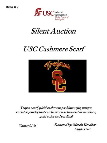 Silent Auction USC Cashmere Scarf Trojan scarf, plaid cashmere pashima style, unique versatile jewelry that can be worn as bracelet or necklace, gold color.