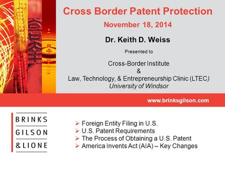 Cross Border Patent Protection November 18, 2014