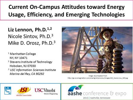 Current On-Campus Attitudes toward Energy Usage, Efficiency, and Emerging Technologies Liz Lennon, Ph.D. 1,2 Nicole Sintov, Ph.D. 3 Mike D. Orosz, Ph.D.
