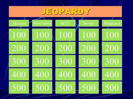 JEOPARDY 100 200 300 400 500 200 300 400 500 Movies World Capitals MTV Biology Wildcard 100.