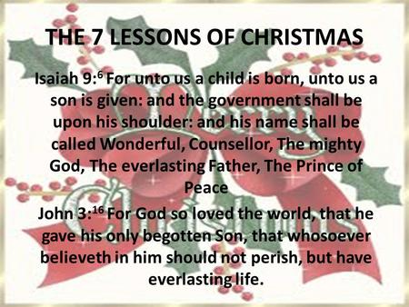 THE 7 LESSONS OF CHRISTMAS