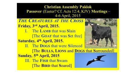 Christian Assembly Paklok Passover (Easter? Cf. Acts 12:4, KJV) Meetings – 4-6 April, 2015 T HE C REATURES AT THE C ROSS Friday, 3 rd April, 2015. I. The.