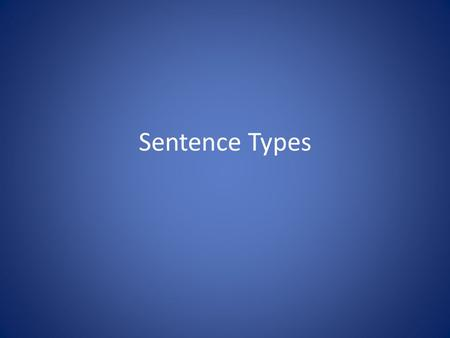 Sentence Types. I. Simple Sentence A. A simple sentence is one independent clause by itself.