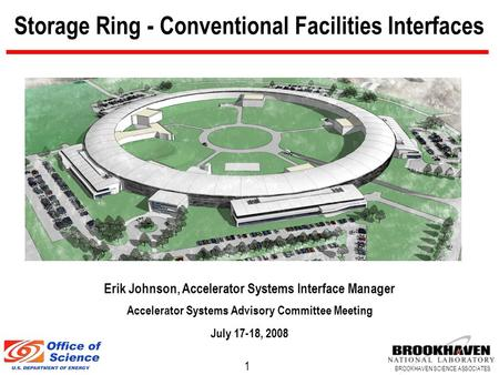 1 BROOKHAVEN SCIENCE ASSOCIATES Storage Ring - Conventional Facilities Interfaces Erik Johnson, Accelerator Systems Interface Manager Accelerator Systems.