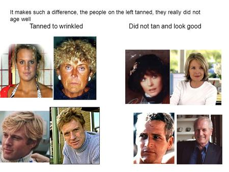 It makes such a difference, the people on the left tanned, they really did not age well Tanned to wrinkledDid not tan and look good.