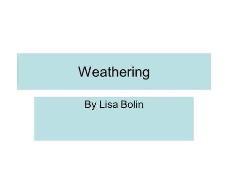 Weathering By Lisa Bolin.