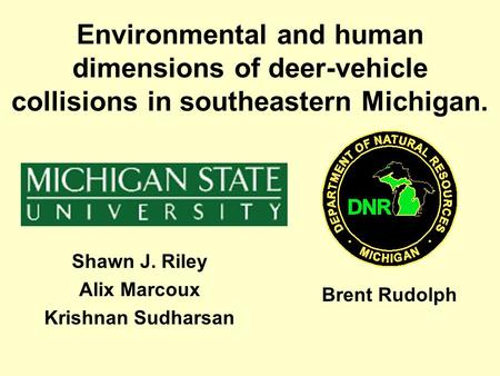 Environmental and human dimensions of deer-vehicle collisions in southeastern Michigan. Shawn J. Riley Alix Marcoux Krishnan Sudharsan Brent Rudolph.