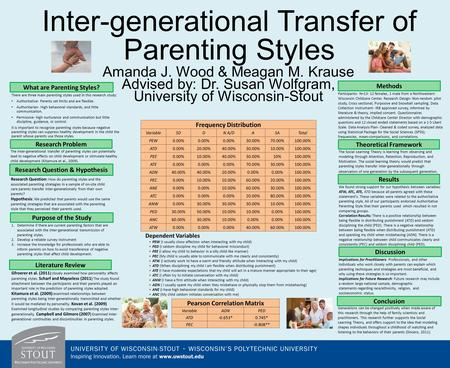 Inter-generational Transfer of Parenting Styles Amanda J. Wood & Meagan M. Krause Advised by: Dr. Susan Wolfgram, University of Wisconsin-Stout There are.